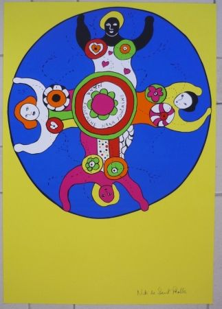 Screenprint De Saint Phalle - Nana fontaines jaune