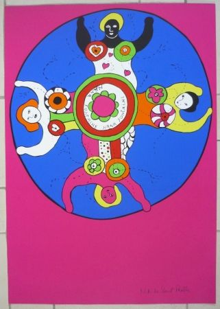 Screenprint De Saint Phalle - Nanas fontaine rose