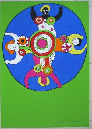 Screenprint De Saint Phalle - Nanas fontaine vert