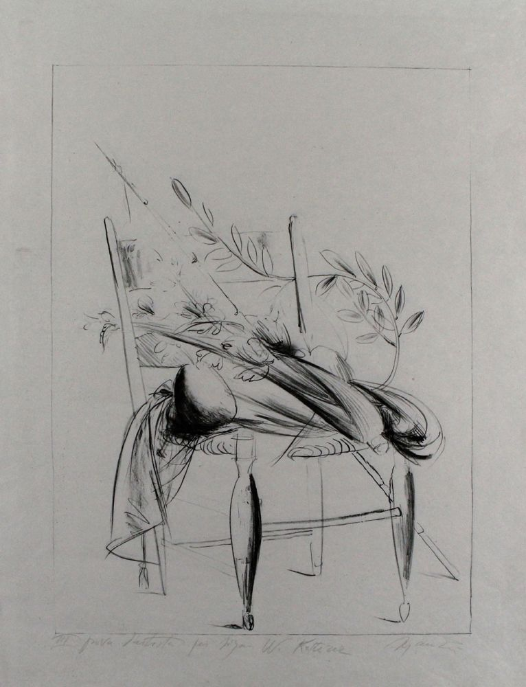Lithograph Manzu - Natura morta