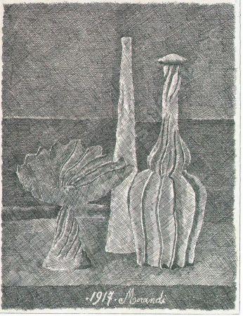 Engraving Morandi - Natura morta con compostiera, bottiglia lunga e bottiglia scannellata
