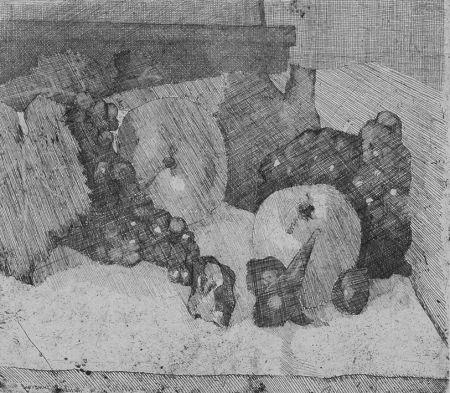 Engraving Barbisan - Natura morta con uva e fichi