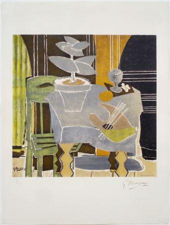 Lithograph Braque - Nature morte à la palette