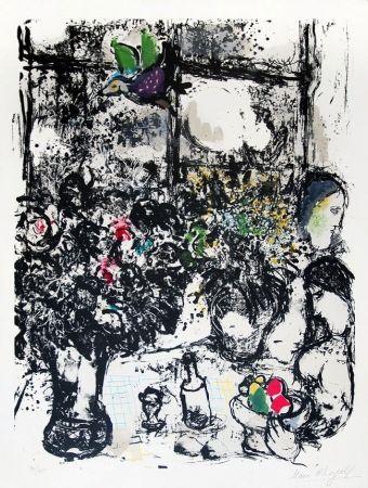 Lithograph Chagall - Nature morte au bouquet (Still Life with Bouquet), 1960