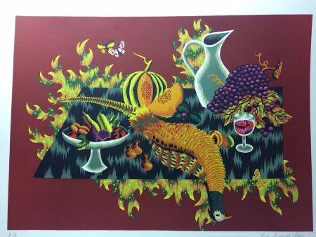 Lithograph Picard Ledoux - Nature morte au faisan