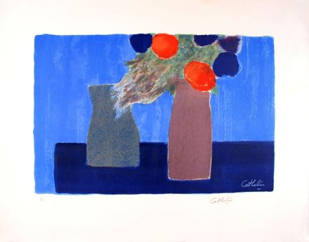 Lithograph Cathelin - Nature morte au fond bleu - Still Life on a blue background