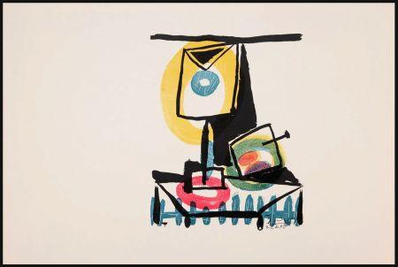 Etching Picasso - NATURE MORTE AU VERRE ET À LA POMME (Le grand verre). Pointe sèche et burin (1944)
