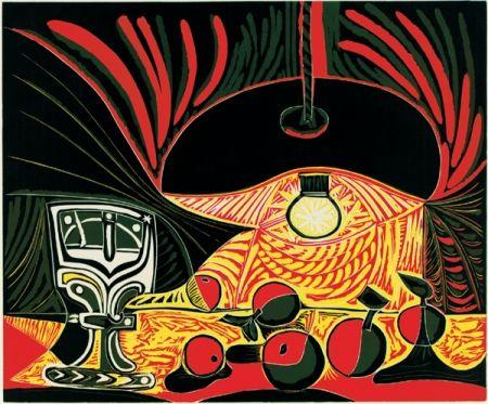 Linocut Picasso - Nature morte au verre sous la lampe