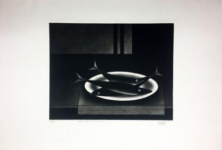 Mezzotint Avati - Nature morte aux 3 poissons (1961)