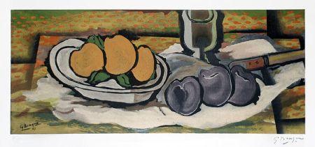 Lithograph Braque - Nature Morte Aux Fruits, 1950