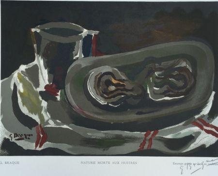 Woodcut Braque - Nature Morte aux Huitres