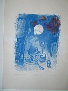Lithograph Chagall - Nature morte brune