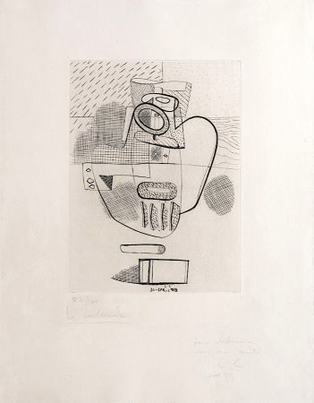 Etching Le Corbusier - Nature Morte (hand-signed, numbered, dedicated)