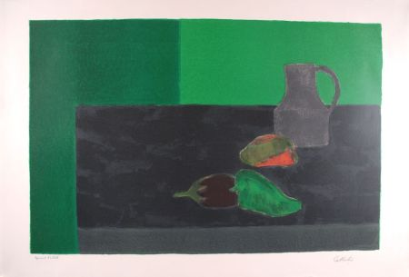 Lithograph Cathelin - Nature morte noire et verte aux poivrons - Still Life in black and green with peppers