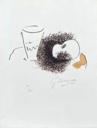 Lithograph Braque - Nature morte verre et pomme