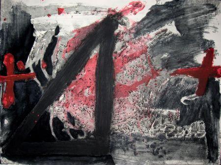 Etching And Aquatint Tapies - Negre i Roig