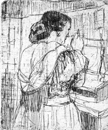 Engraving Manfredi - Nel camerino