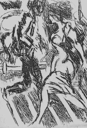 Engraving Guttuso - Nella strada