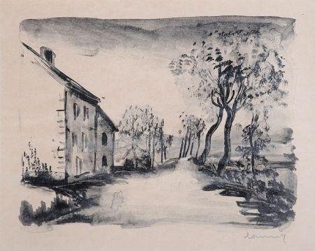 Lithograph Vlaminck - Nelle-la-Vallée, le Chemin aux Bords du Sausseron