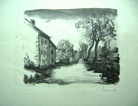 Lithograph Vlaminck - Nelle-la-Vallee, le chemin aux Bords de Sausseron
