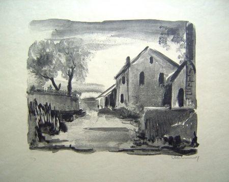 Lithograph Vlaminck - Nelle-la-Vallee. Maisons rustiques