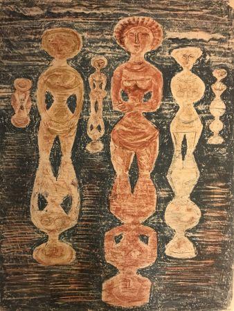 Lithograph Campigli - NELLE RISAIE - Dans les Rizières