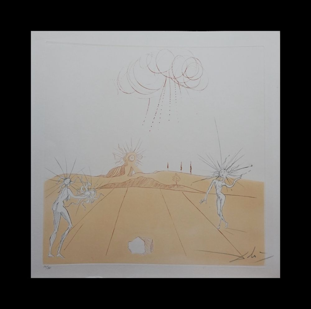 Etching Dali - Neuf Paysages Paysage avec Figures-Soleil from Sun