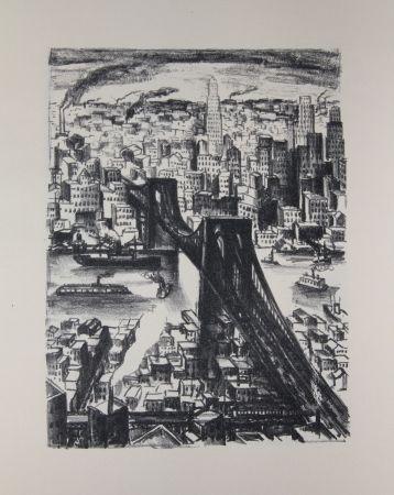 Lithograph Lubbers - NEW-YORK - BROOKLYN BRIDGE / LE PONT DE BROOKLYN