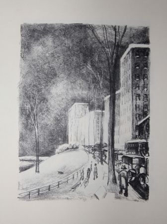 Lithograph Lubbers - NEW-YORK / CENTRAL PARK