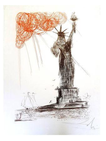 Lithograph Dali - New-York : La Statue de la Liberté