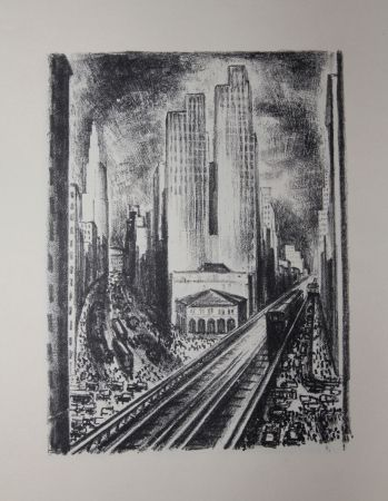Lithograph Lubbers - NEW-YORK / SUBWAY