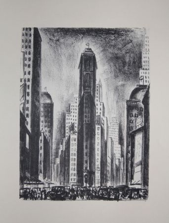 Lithograph Lubbers - NEW-YORK / TIMES SQUARE