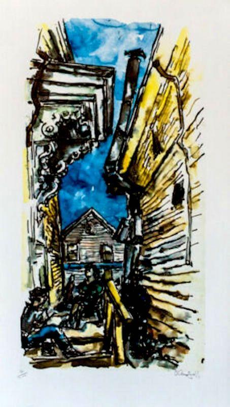 Lithograph Gross - New England Street Scene