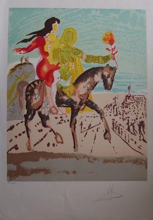 Lithograph Dali - New Jerusalem - Femme à cheval