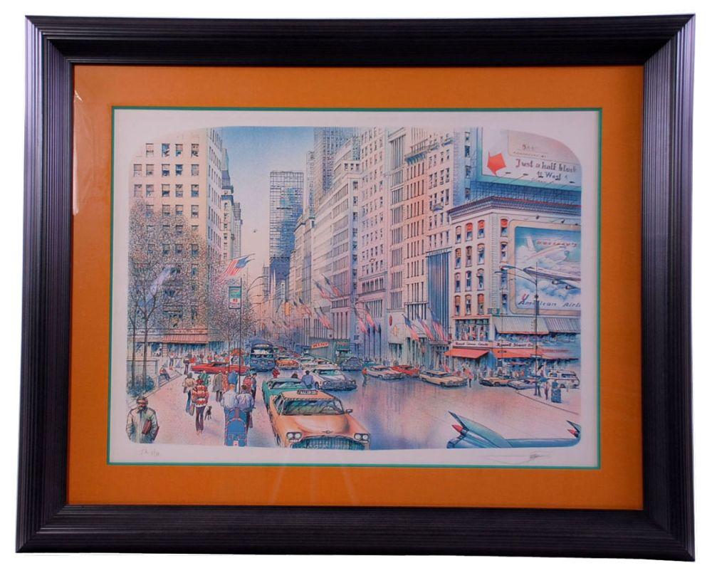 Lithograph Rafflewski - New York 5th Avenue