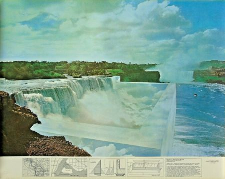 Lithograph Superstudio - Niagara o l'architettura riflessa