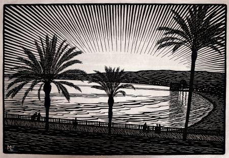 Woodcut Moreau - Nice (Promenade Des Anglais / French Riviera) - Gravure S/bois / Woodcut - 1910