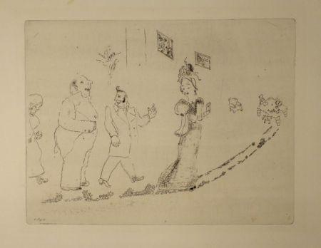 Engraving Chagall - (Nicolas Gogol, Les Ames Mortes, 34)