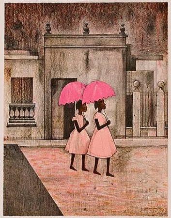 Lithograph Montoya - Ninas con paraguas