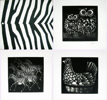 Mezzotint Avati - NOAH'S ARK. Ten Mezzotints. (1971)