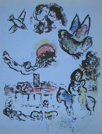 Lithograph Chagall - Nocturne in Vence