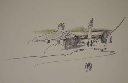 No Technical Janssen - (Nordische Landschaft mit Gebäuden, Turm und zwei Personen)