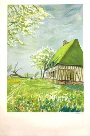 Lithograph Foujita - Normandie  Epreuve d'Artiste