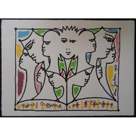 Lithograph Cocteau - Nous croyons l'Europe