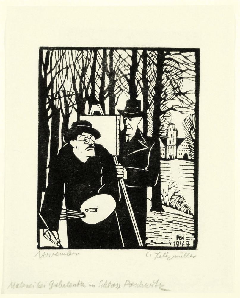 Woodcut Felixmuller  - November