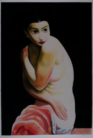 Aquatint Kisling - Nu Assis