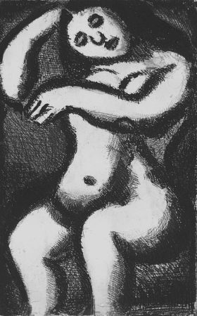 Aquatint Rouault - Nu assis