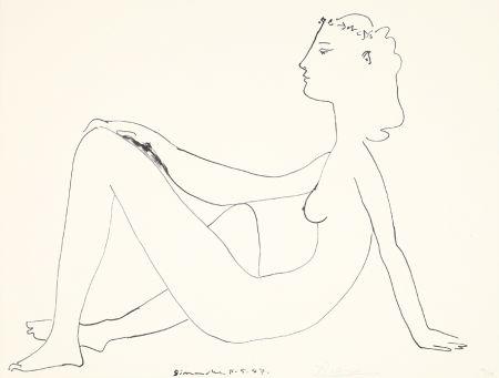 Lithograph Picasso - Nu assis, de profil