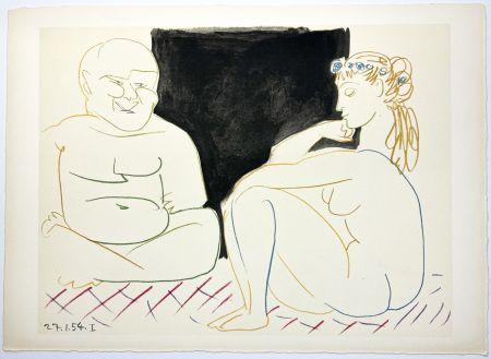 Lithograph Picasso - Nu assis et Bouddha (La Comédie Humaine - Verve 29-30. 1954).