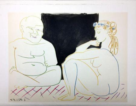 Lithograph Picasso - Nu assis et Bouddha (La Comédie Humaine - Verve 29-30. Vallauris 1954)